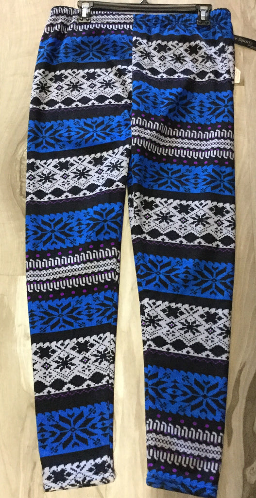 Royal blue, black and purple print velour leggings