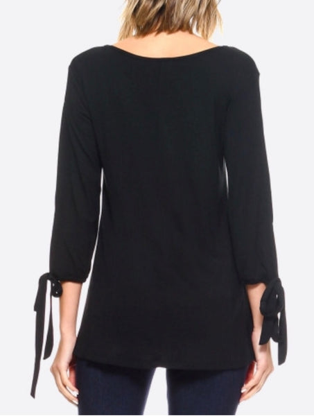 Black Split tie sleeve top