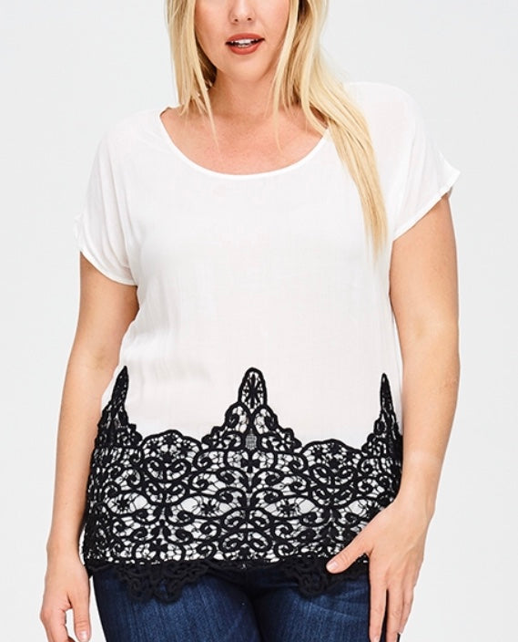 Ivory with black lace plus top