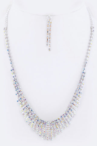 AB silver layer rhinestone necklace set