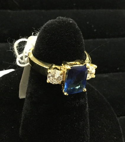 Sapphire blue oblong stone ring gold and rhinestones