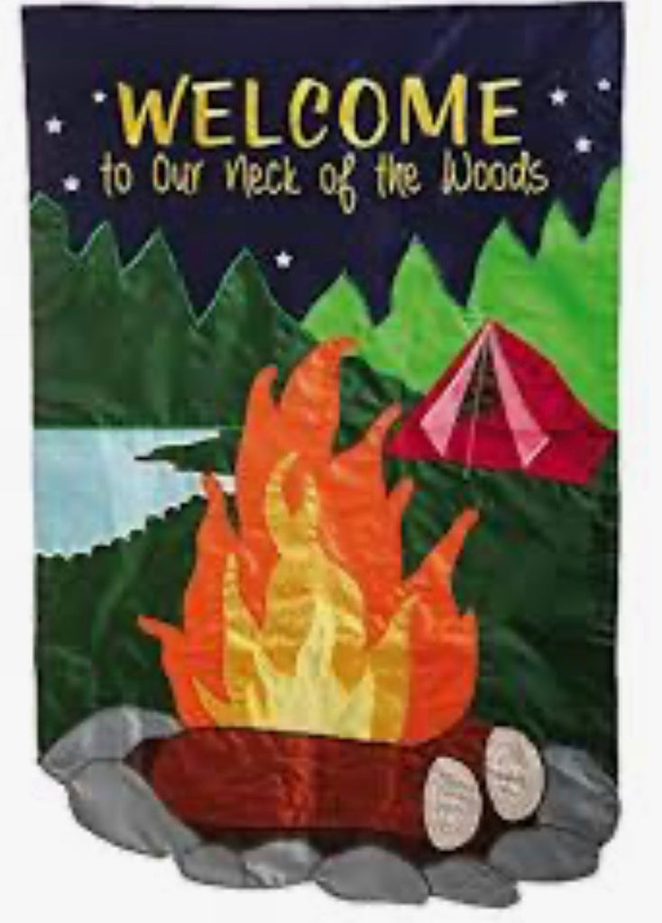 Camping Welcome our neck of the woods garden flag