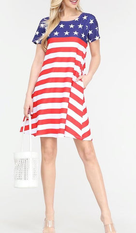 American Flag Summer Dress with Pockets Plus
