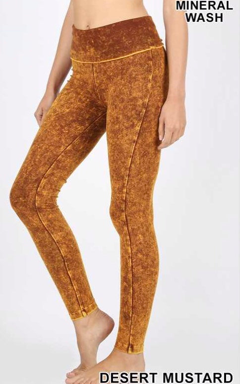 Desert Mustard Mineral Washed Leggings