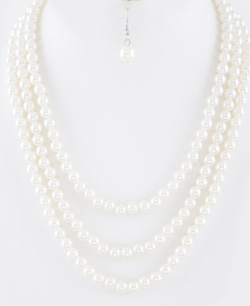 Pearl ivory triple strand necklace set