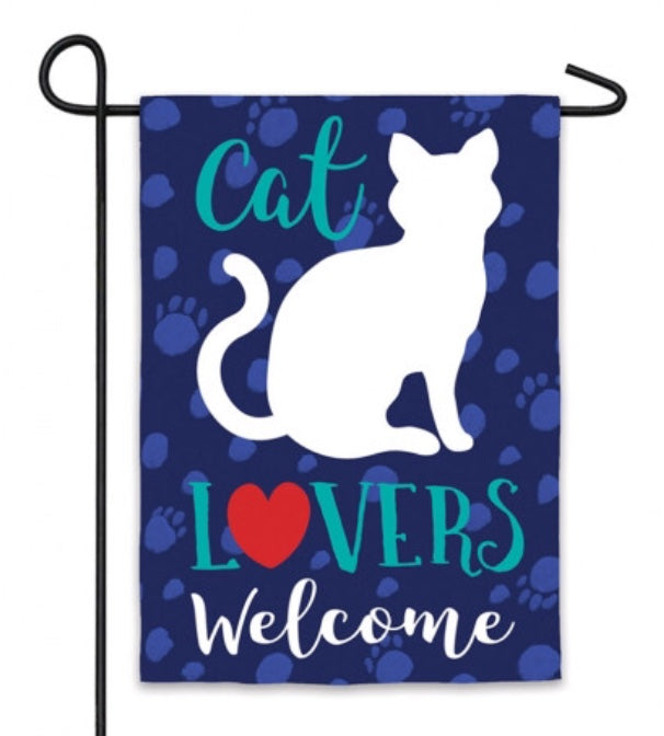 Cat Lovers Welcome garden flag