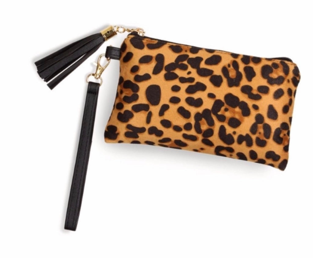 Leopard light brown print makeup pouch