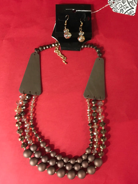 Brown or gray Beaded 3 layer leather detail necklace set