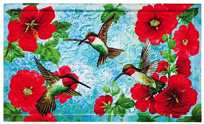 Hummingbird and Hollyhock embossed outdoor mat