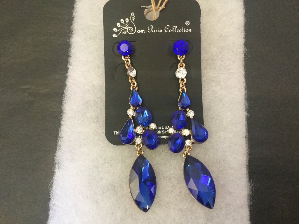 Royal blue and gold tear drop pierced earrings