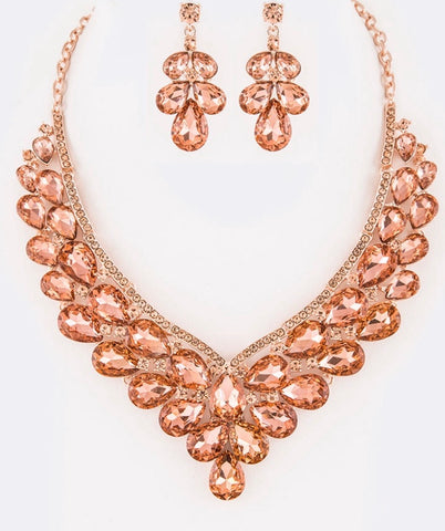 Peach crystal statement necklace set