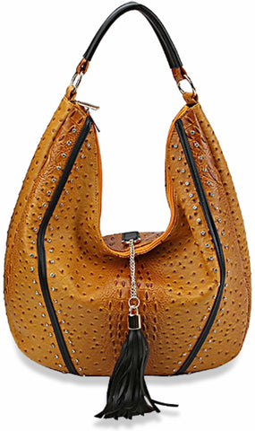 Mustard Embossed Hobo Handbag
