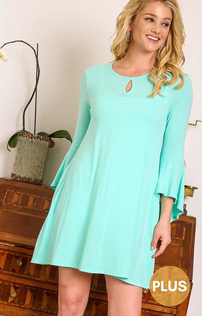 Mint ruffle sleeve notch neck dress Plus
