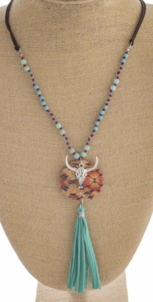 Turquoise antique silver western necklace