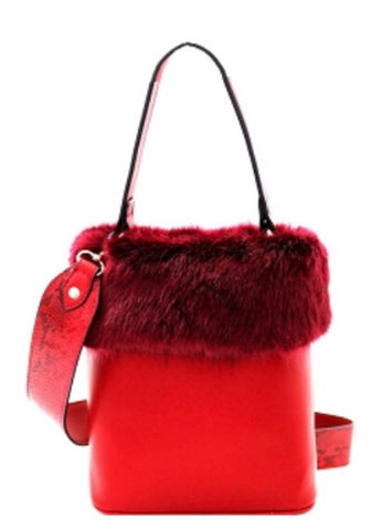 Red Fur acccent satchel bucket handbag