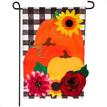 Pumpkins and Plaid Garden Applique Flag