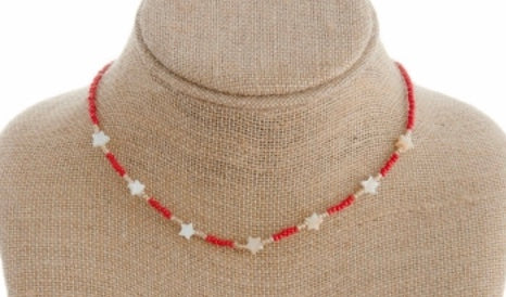 Red beaded star necklace