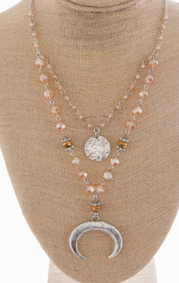 Beige beaded horn layered necklace set