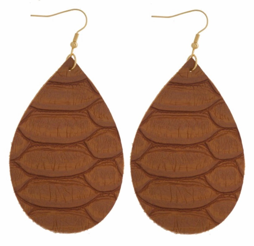 Brown reptile earring