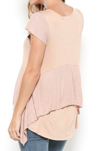Natural ruffled detail short sleeve top
