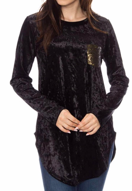 Black velvet sequin pocket top Plus