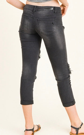 Black denim sequined patch distressed cropped jean