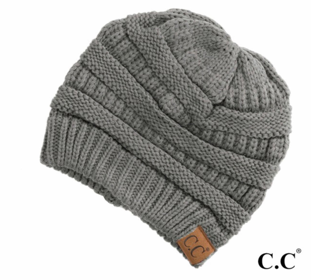 Gray natural CC beanie
