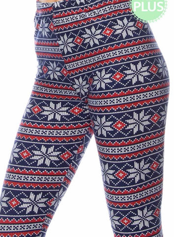 Navy red snowflake print leggings Plus