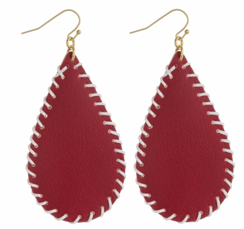Red white game day earrings