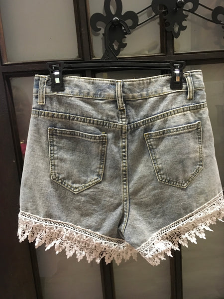 Denim distressed lace short