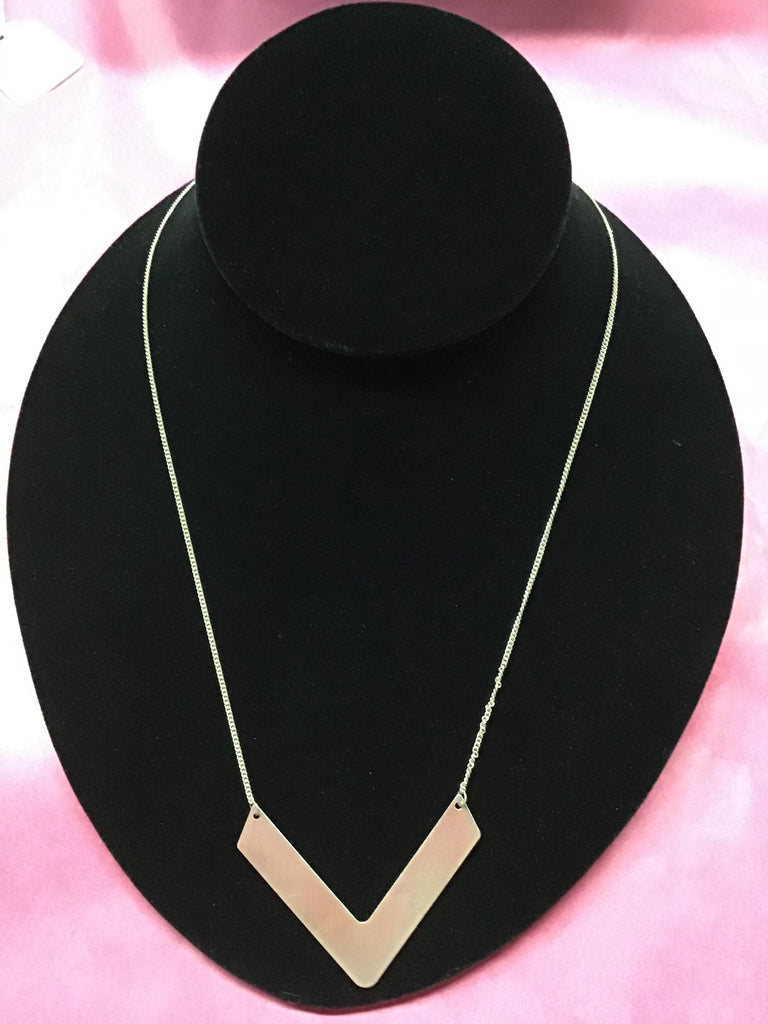 Silver V shape pendant necklace
