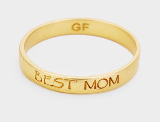 Gold best Mom ring