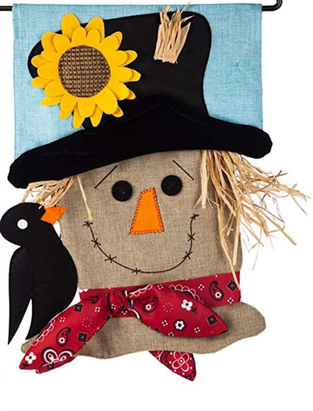 Scarecrow seasonal house flag