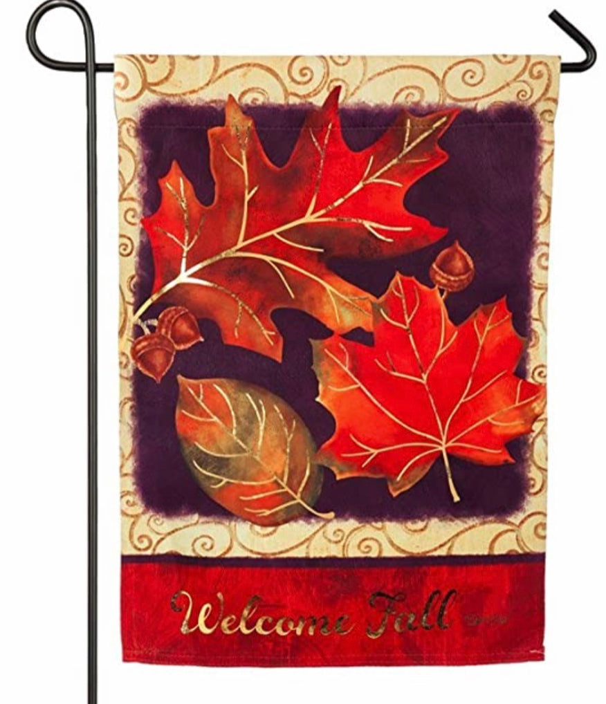 Brilliant Autumn Welcome fall garden flag