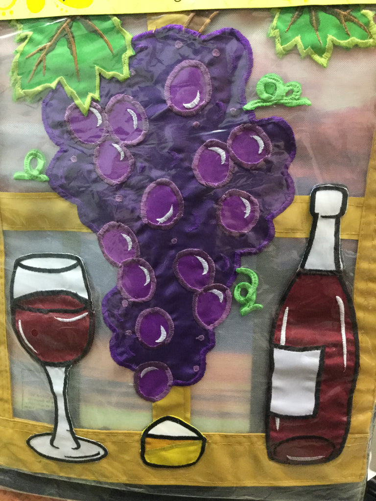 Grapes Wine and cheer garden flag