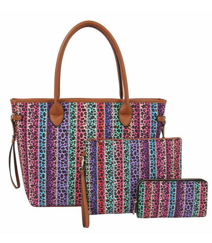 Multi leopard 3 In 1 Print Tote Set Bag