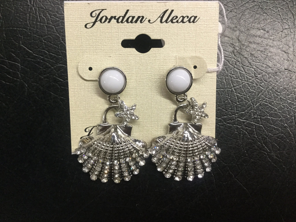 Earrings silver sea shells accented with rhinestones