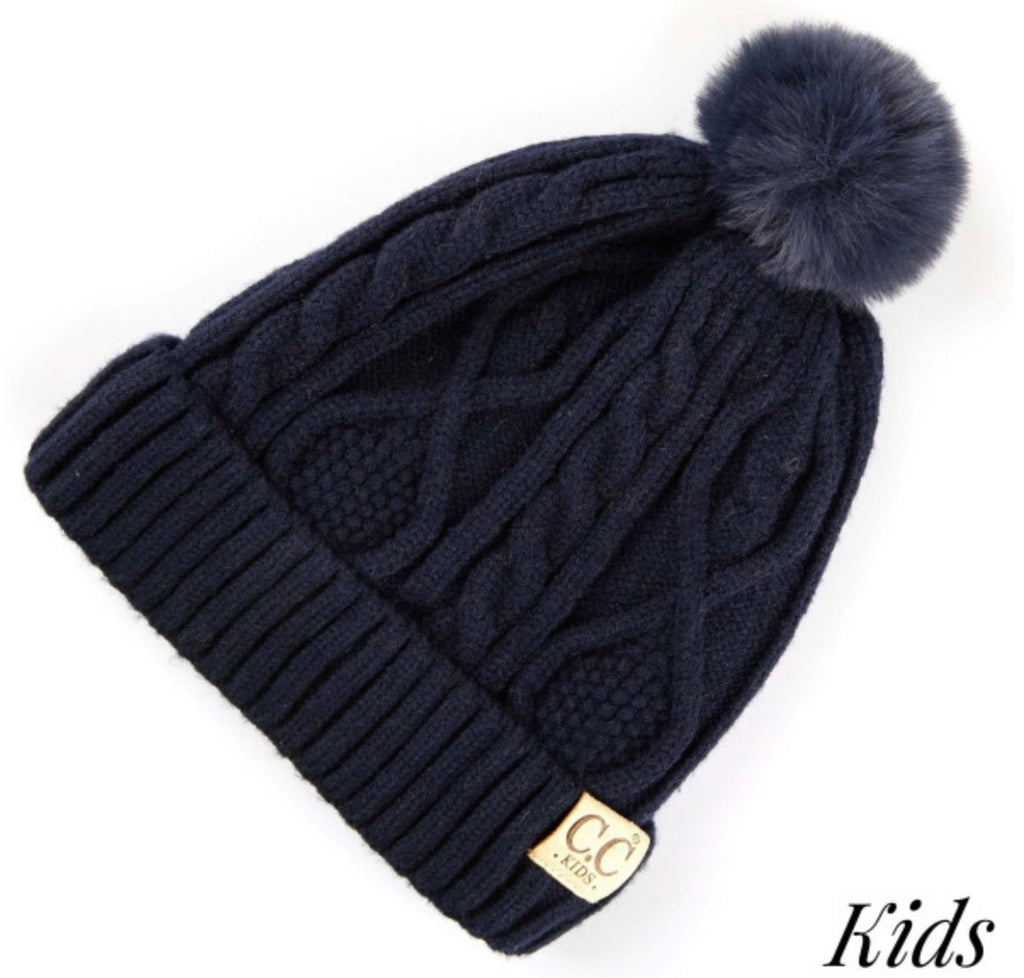Kids Navy on navy CC beanie Pom