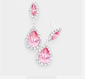 Light Rose pink marquoise  drops  post earring