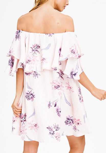 Pink floral off shoulder dress SMALL ONLY