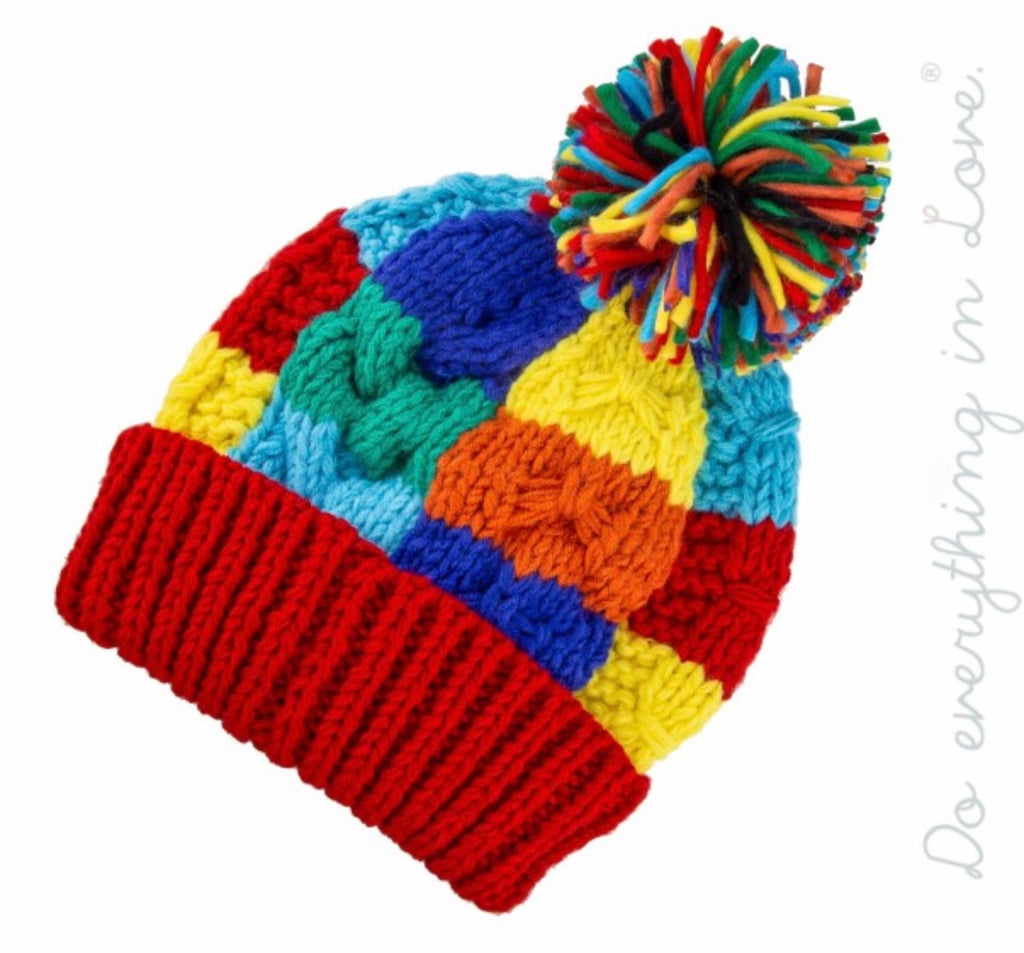 Red multi color block beanie with Pom