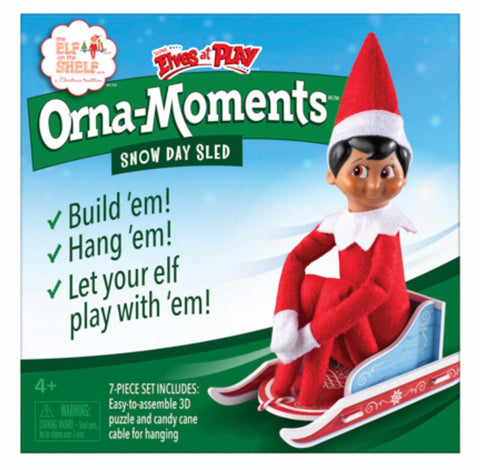 Elf orna moments snowy day sled