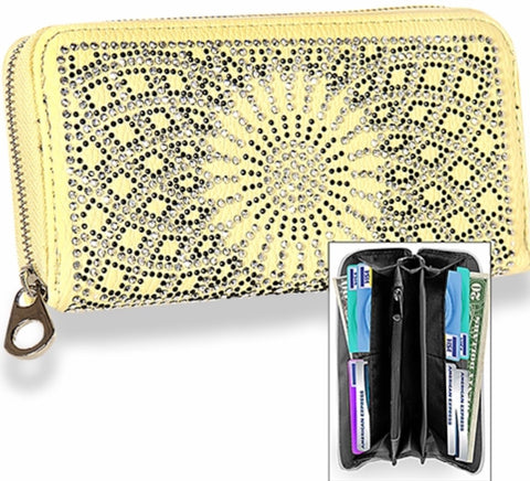 Yellow rhinestone sunflower design wallet