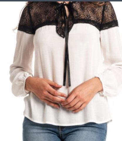 Black white lace neck blouse
