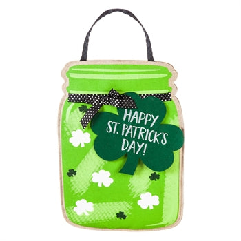 St Patrick's Day mason jar door decor