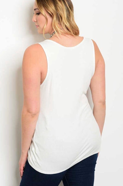 White Plus size tank