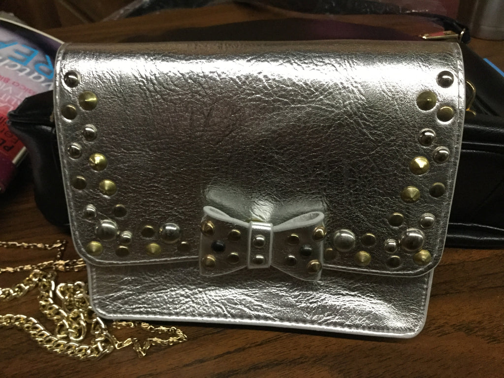 Silver studded bow small crossbody bag