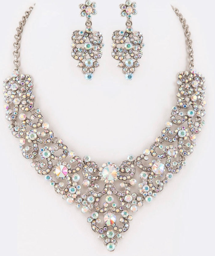 Crystal AB statement necklace set