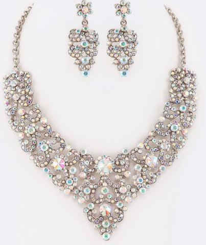 AB crystal statement necklace set