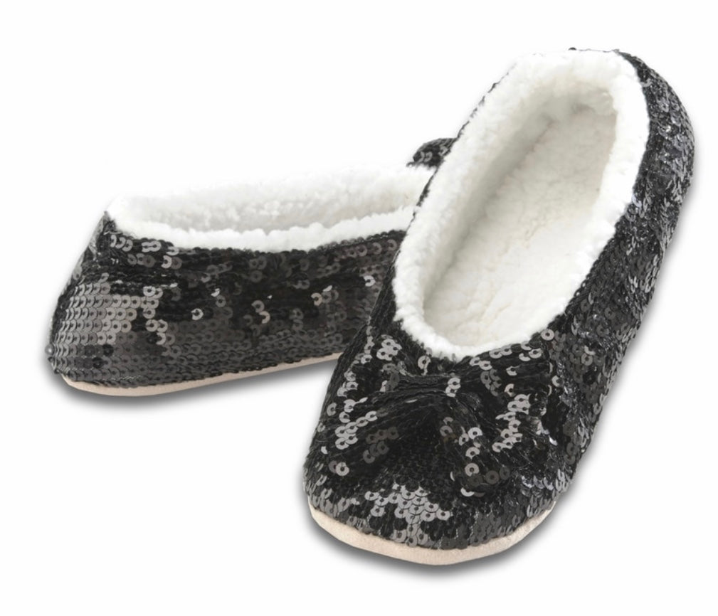 Black Snoozie sequin house shoes